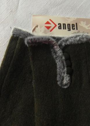 Женские перчатки болотного цвета размер 6,5-7-8,54
