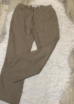 Льняные широкие палаццо брюки2