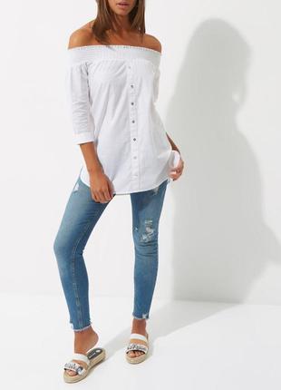 Блуза белая с плечами открытыми zara zara1