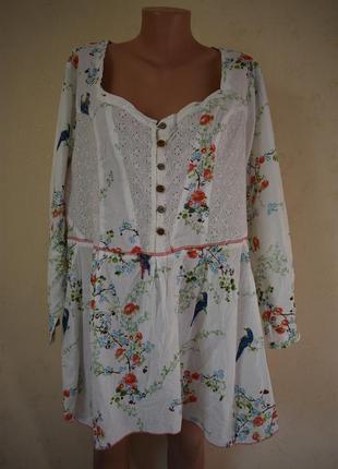 Новая натуральная блуза с принтом большого размера joe browns1 фото