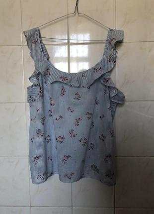 Блуза небесного цвета голубая в полоску цветочнй принт рюши воланы на плечах zara4 фото