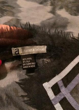Шикарный огромный платок,шерсть и шелк,с тесьмой,116*121 см,amet&ladoue,франция3 фото