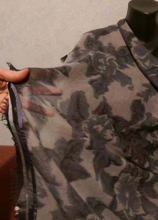 Шикарный огромный платок,шерсть и шелк,с тесьмой,116*121 см,amet&ladoue,франция7 фото