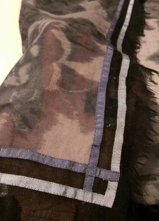 Шикарный огромный платок,шерсть и шелк,с тесьмой,116*121 см,amet&ladoue,франция8 фото