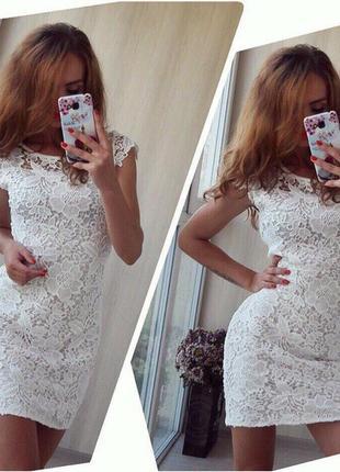Белое платье кружевное1