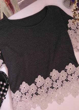 Шикарная блузка футболка с ажурной оконтовкой s 36 8 44 m 38 10 46 l 12 40 481