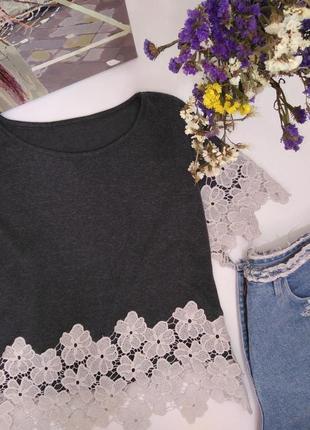 Шикарная блузка футболка с ажурной оконтовкой s 36 8 44 m 38 10 46 l 12 40 482