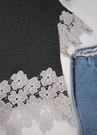 Шикарная блузка футболка с ажурной оконтовкой s 36 8 44 m 38 10 46 l 12 40 483
