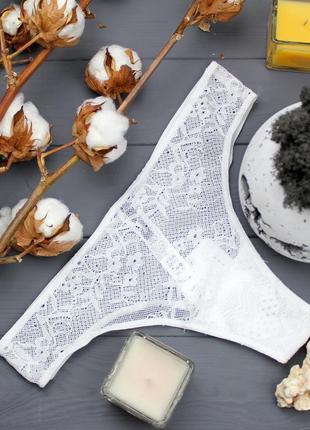 Белые трусики-бикини кружево и сетка р. s, m от tezenis