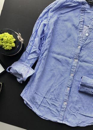 Рубашка блуза в полоску синюю блуза zara ( сорочка в полоску) zara3
