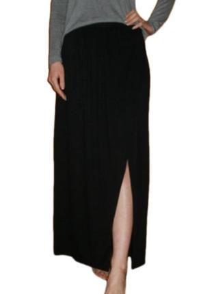 Длинная расклешенная юбка в пол макси с разрезом на запах вискоза размер 10 наш 443