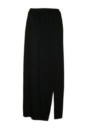 Длинная расклешенная юбка в пол макси с разрезом на запах вискоза размер 10 наш 44