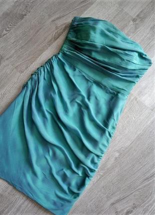 Невероятное коктейльное-вечернее платье футляр💙бюстье с драпировкой  100%шелк1