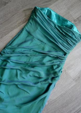 Невероятное коктейльное-вечернее платье футляр💙бюстье с драпировкой  100%шелк3