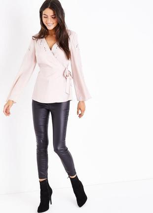 Пудровая блуза кимоно new look с вышивкой s-m2 фото