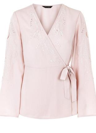 Пудровая блуза кимоно new look с вышивкой s-m5 фото