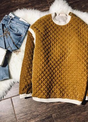 Краствая горчичная кофта свитер оверсайз1