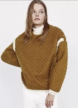 Краствая горчичная кофта свитер оверсайз2