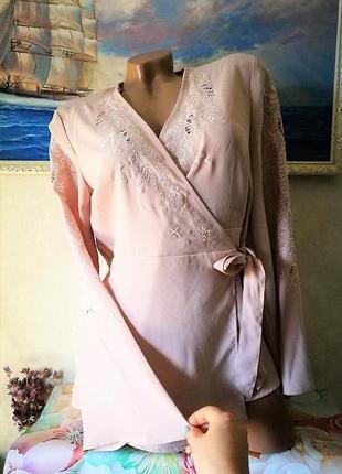 Пудровая блуза кимоно new look с вышивкой s-m3 фото