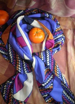Платок шарф элегантный натуральный шелк christian fischbacher шов роуль 88x88 см7 фото