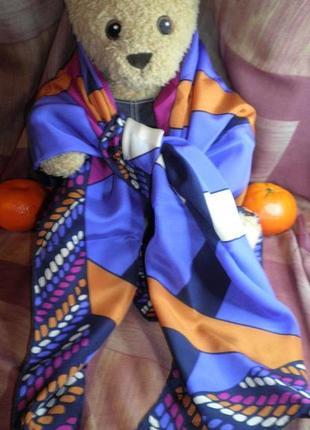 Платок шарф элегантный натуральный шелк christian fischbacher шов роуль 88x88 см8 фото