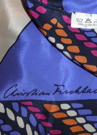 Платок шарф элегантный натуральный шелк christian fischbacher шов роуль 88x88 см9 фото