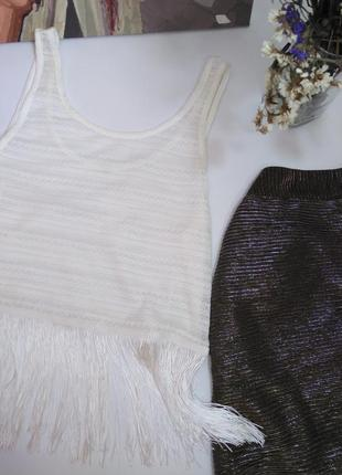 H&m майка белая с бахромой принт узор размер xs 34 6 42 s 36 8 442