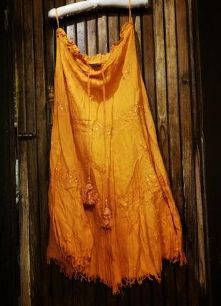 Phool. юбка яркая оранжевая с бахромой пайетками вышивкой бохо1