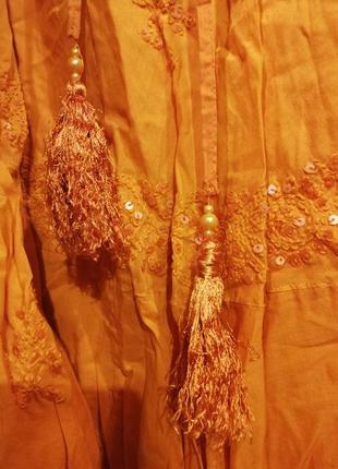 Phool. юбка яркая оранжевая с бахромой пайетками вышивкой бохо3
