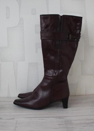 Шикарные высокие демисезонные кожаные сапоги anita