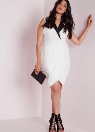 Платье-блейзер на запах с контрастным воротом missguided ms6482 фото