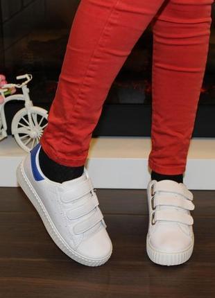 Кроссовки белые липучки синяя пятка т7617