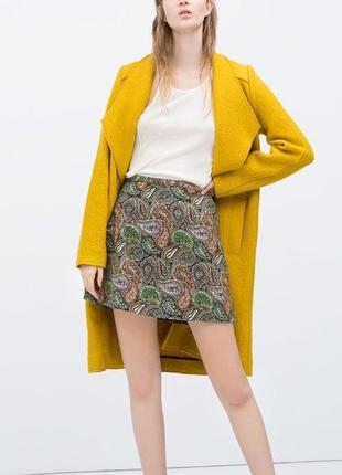 Жаккардовая юбка трапеция,в цветочный принт,высокая посадка,высокая талия zara,размер 40/l1 фото