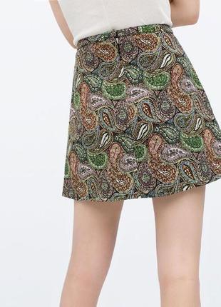 Жаккардовая юбка трапеция,в цветочный принт,высокая посадка,высокая талия zara,размер 40/l2 фото