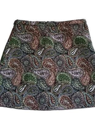 Жаккардовая юбка трапеция,в цветочный принт,высокая посадка,высокая талия zara,размер 40/l4 фото