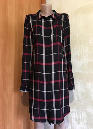 Стильное натуральное платье-рубашка в клетку,f&f1