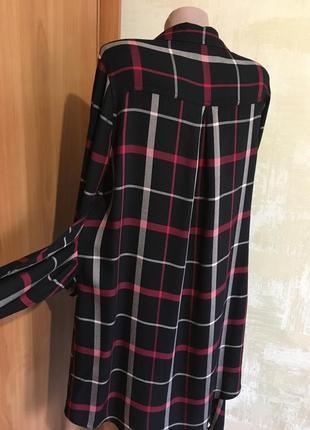 Стильное натуральное платье-рубашка в клетку,f&f4