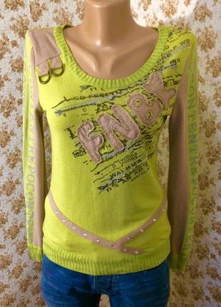 Симпатичный яркий свитерок в рубчик размер s-m1