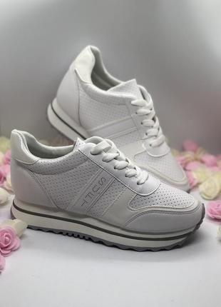 Белые спортивные кроссовки  на платформе3