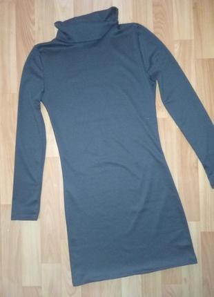 Строгое черное/ деловое платье с горлом/ длинный рукав2