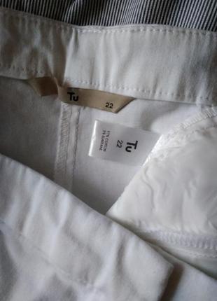 🌹 р 22 / 56-58 легкие летние укороченые брючки капри бриджи белые слим скинни стрейчевые5