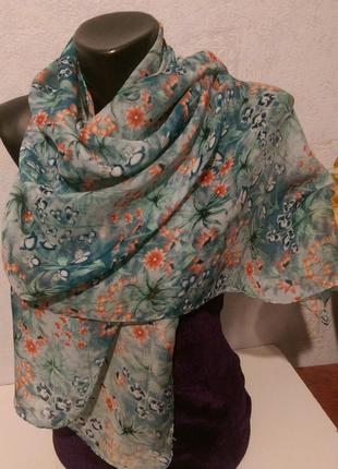 """Натуральный шелк,шарфик""""цветы"""",индия,шов роуль,54*1443"""