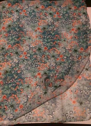 """Натуральный шелк,шарфик""""цветы"""",индия,шов роуль,54*1445"""