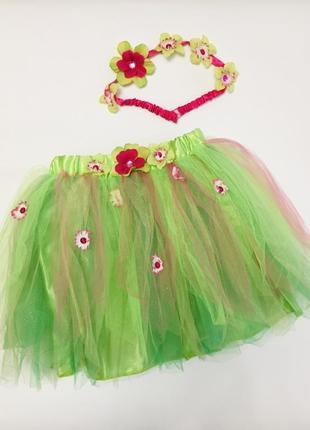 Нарядная фатиновая юбка под костюм цветка на 7-9 лет