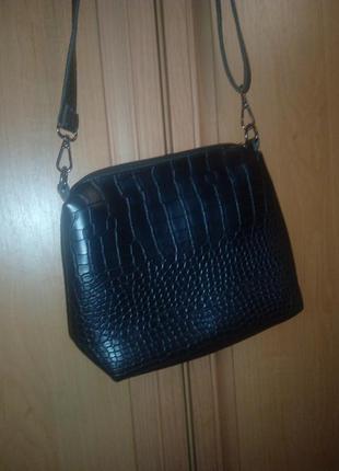 Черная сумка с длинным ремешком/ эко- кожа2