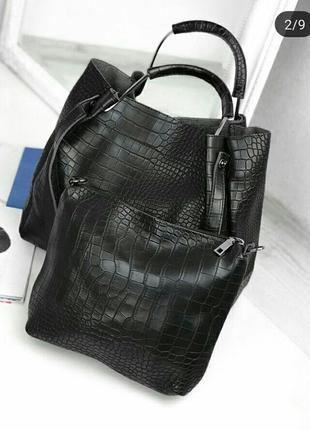 Черная сумка с длинным ремешком/ эко- кожа