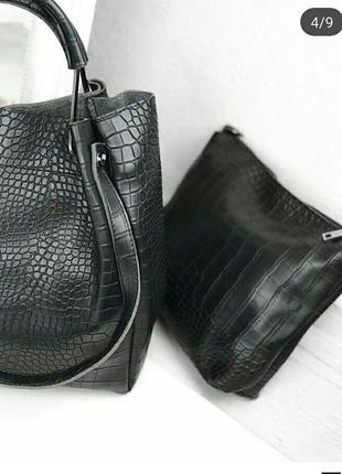 Черная сумка с длинным ремешком/ эко- кожа3