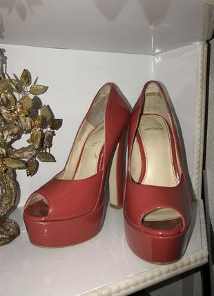 Туфли красные лак6