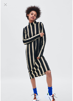 Zara красивенное оригинальное платье в полоску