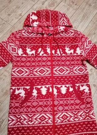 Новогодний, спортивный костюм слитный, с оленями, easy, l, 48-50